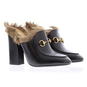 Gucci Black Princetown Fur Mule Heels